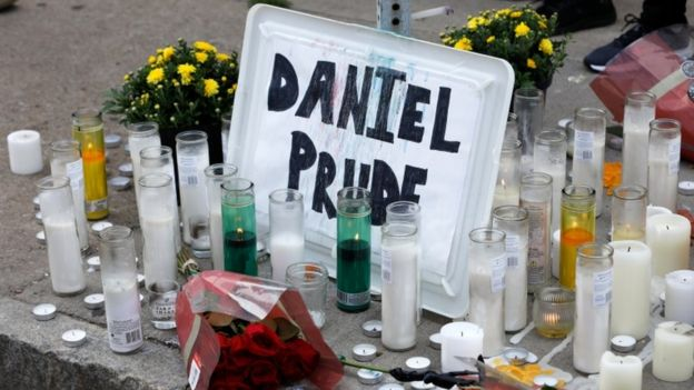 Impromptu memorial to Daniel Prude on Jefferson Avenue, Rochester, 3 September 2020