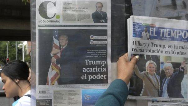 Diarios colombianos con titulares y fotos sobre las elecciones.