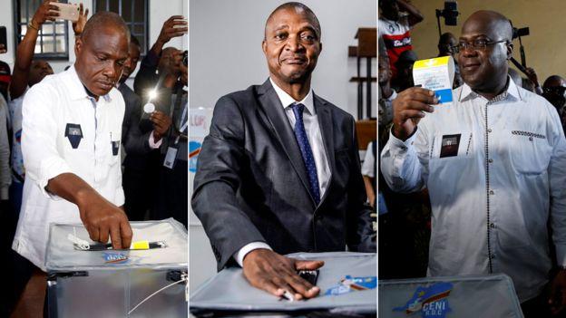 Composite of three candidates (L-R): Martin Fayulu, Emmanuel Shadary and Felix Tshisekedi