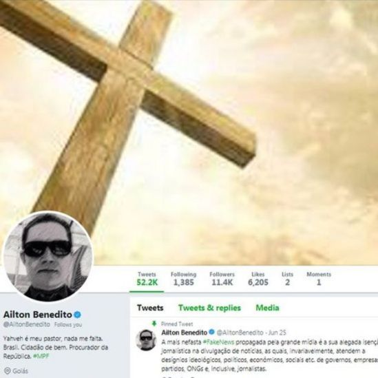 Reprodução do perfil de Ailton Benedito no Twitter
