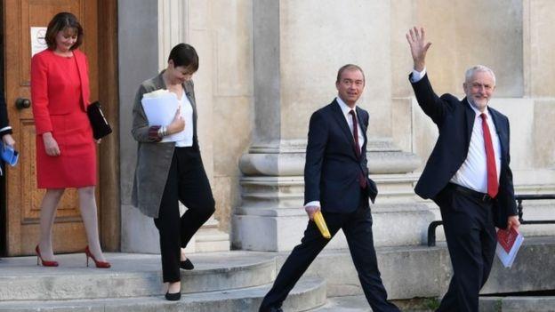 Plaid Cymru leader Leanne Wood, Green party co-leader Caroline Lucas, Liberal Democrat leader Tim Farron and Labour leader Jeremy Corbyn