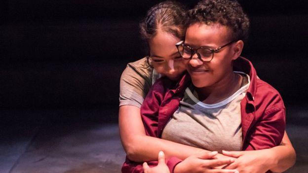 Production photo for She Like Girls at the University of Maryland, Baltimore County. Actors: Maria Marsalis and Majenta Thomas