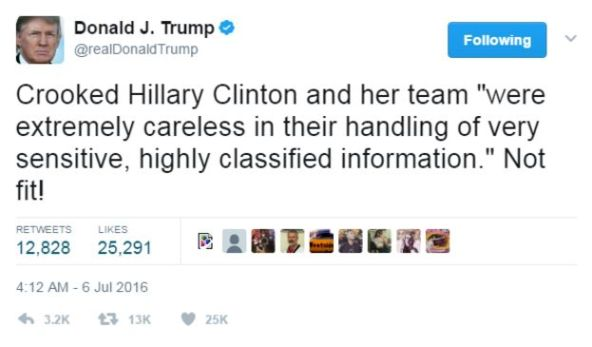Donald Trump tweet from 2016