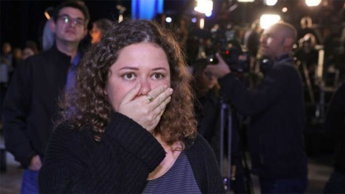 Blue and White supporter reacts to exit polls in Israel (2 March 2020)
