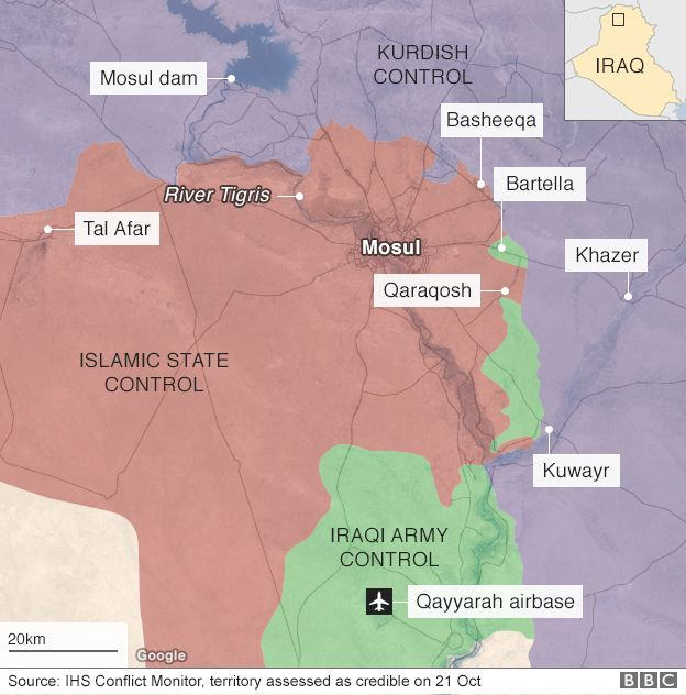 BBC map showing large swathe of northern Iraq centred on Mosul and under the control of so-called Islamic State, with, to the east, three areas under Iraqi armed forces control, and further north, areas under Kurdish control, 21 October 2016