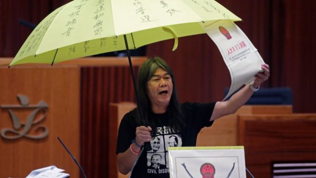 Newly elected pro-democracy lawmaker Leung Kwok-hung, known as