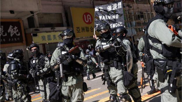 Police in riot gear in Hong Kong