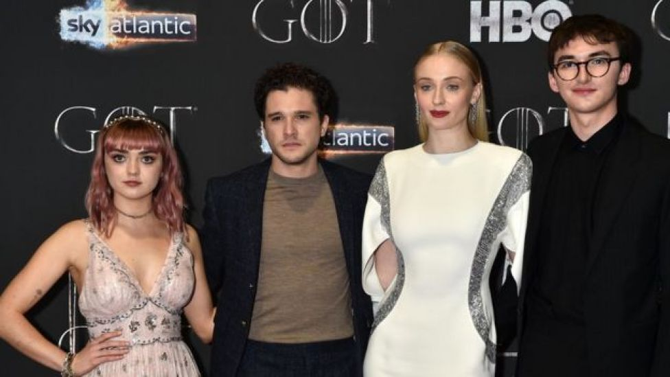 Maisie Williams, Kit Harington, Sophie Turner and Isaac Hempstead Wright attend Belfast screening on Friday night