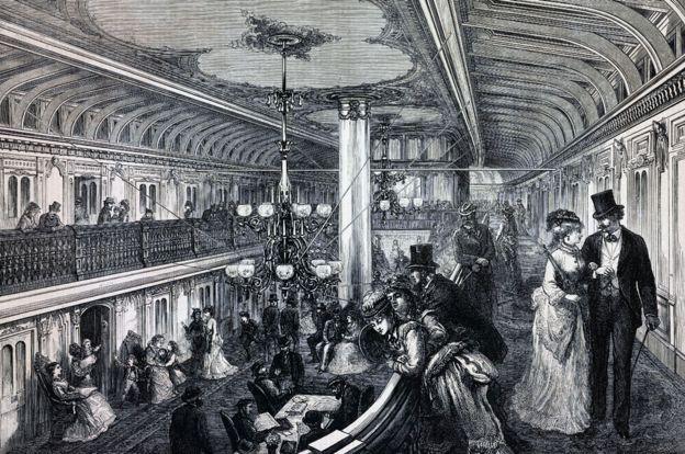 Ilustración del lujoso interior de un barco a vapor, a finales del siglo XIX