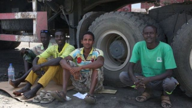 Ethiopian truckers waiting in the shade in Djibouti before setting off back to Ethiopia with imported goods