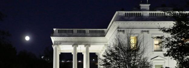 The moon rises over the White House in Washington on November 13, 2016. An unusually large and bright Moon will adorn the night sky on Monday, November 14, 2016