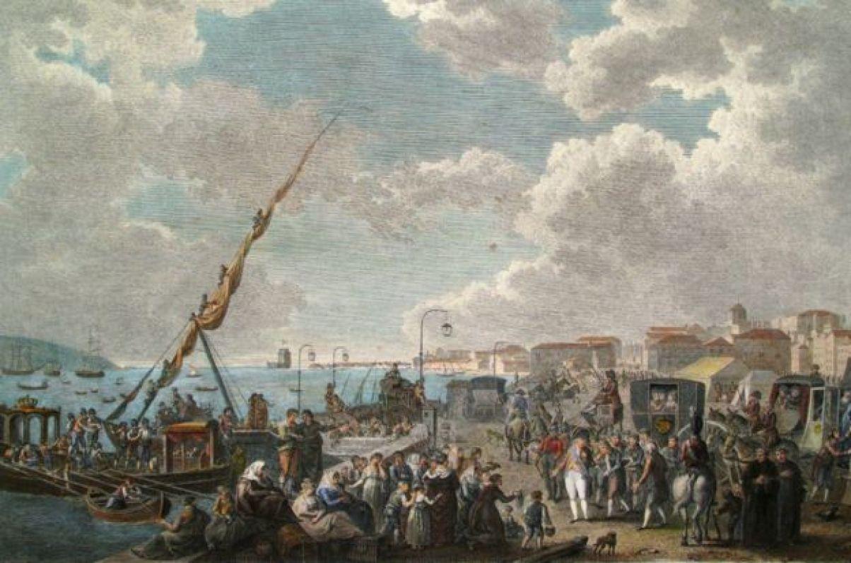 Embarque da família real portuguesa no cais de Belém, em 29 de novembro de 1807