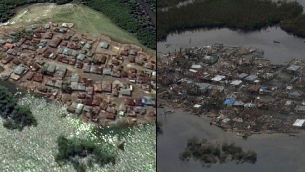 Las imágenes del antes y después en Haití, donde centenares de casas aparecen destrozadas.