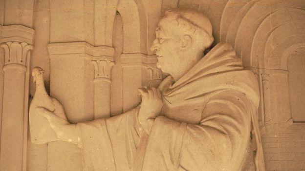 La imagen de Dom Perignón en la abadía de Hautvilliers