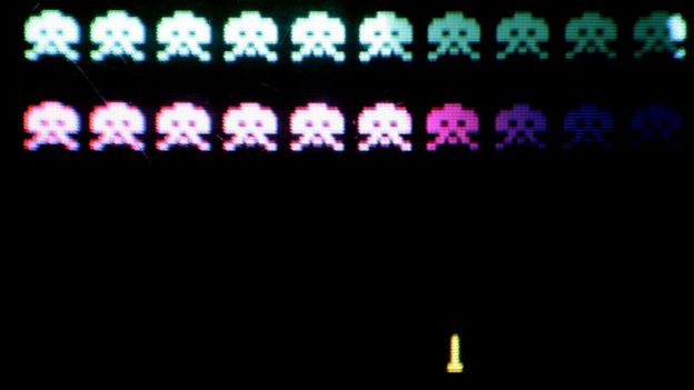 A screen from Space Invaders, from a display at London's Science Museum