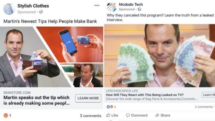 """A two-part composite image shows Martin Lewis holding money and credit cards with advertising copy about """"making back"""" and """"learning the truth"""""""