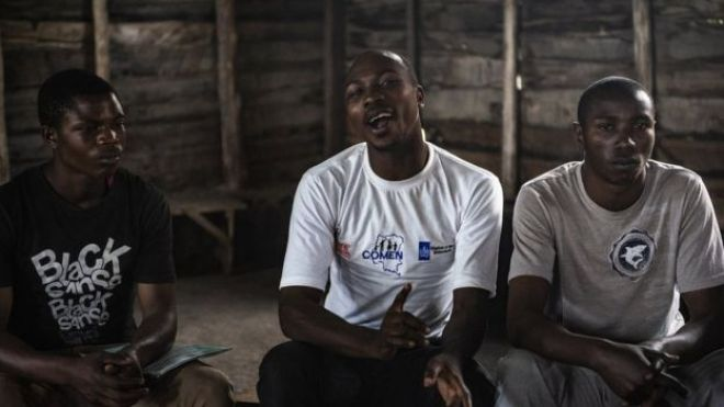 Men discuss masculinity and manhood at a meeting organised by the Congo Men's Network
