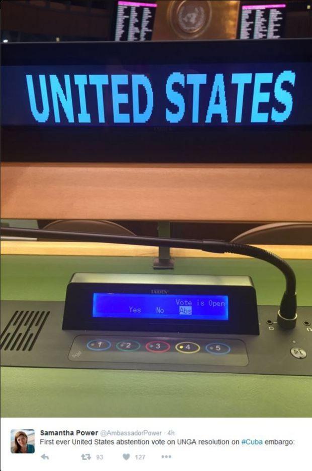 Samantha Power subió a Twitter la imagen de su voto.