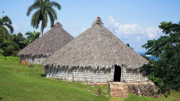 Reproducción de una villa de los aborígenes taínos en Holguín, Cuba.