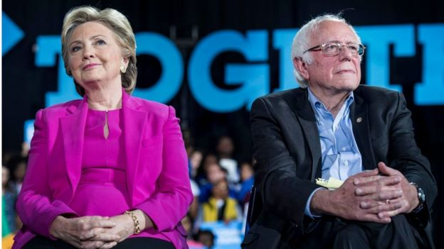 Democratic Nominee for President of the United States former Secretary of State Hillary Clinton, with Senator Bernie Sanders
