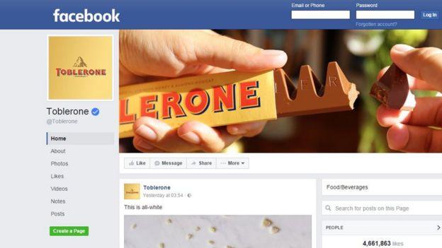 Página Facebook de Toblerone