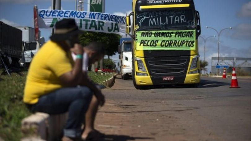 bloqueio de caminhoneiros em Cristalina, em 25 de maio