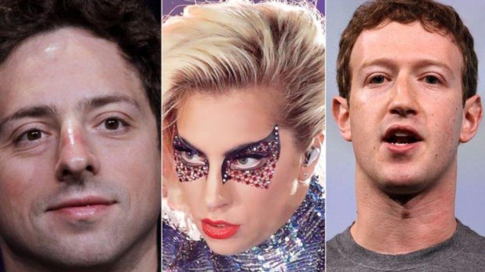 Sergey Brin, cofundador de Google, Lady Gaga y Mark Zuckerberg