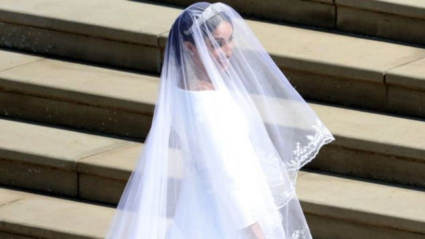 Meghan Markle arrives for the wedding ceremony to marry Prince Harry at St George's Chapel, Windsor Castle