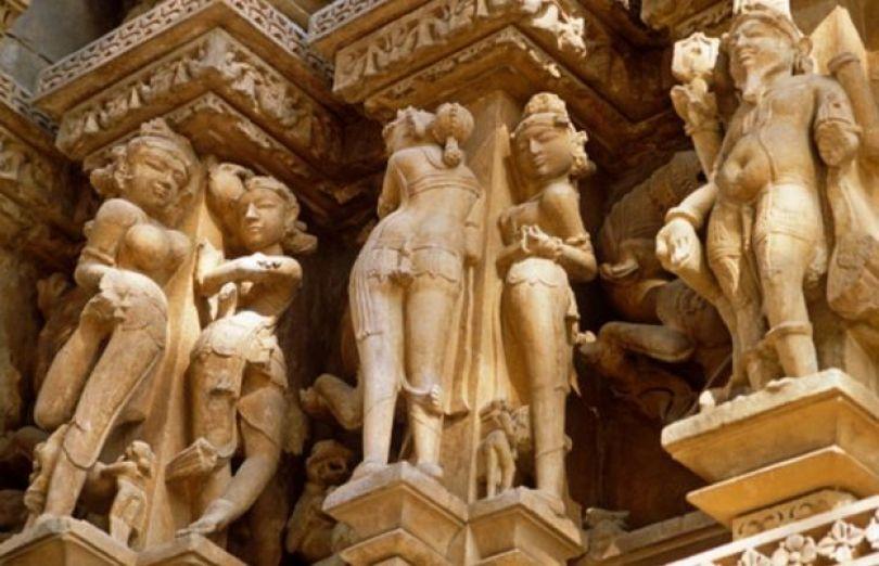 templos eróticos de Khajuraho, na Índia central.