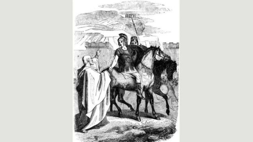 رسم للاسكندر الأكبر وهو يمتطي جواده استعدادا لخوض معركة
