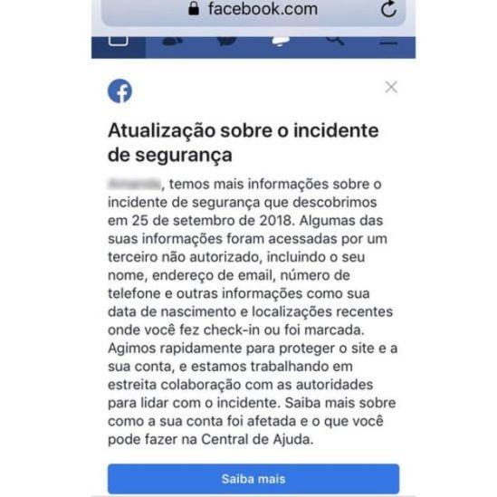 Print screen de mensagem do Facebook