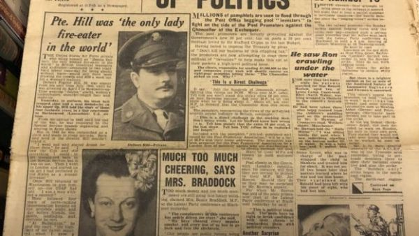 A Daily Mirror article from 1949, which shows the story of a soldier dressing up as a woman and eating fire