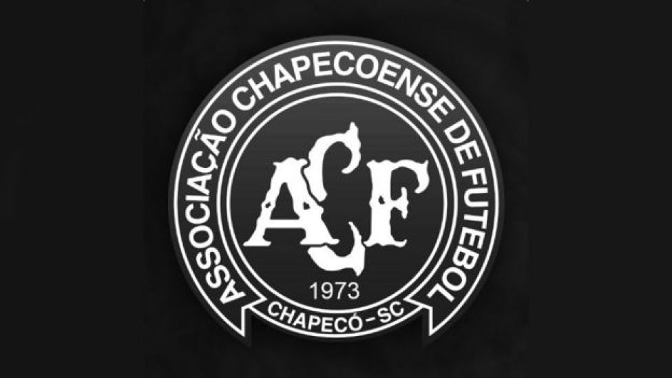 Chapecoense crest blacked out as a mark of respect and mourning