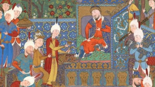 Persian miniature showing wine drinking