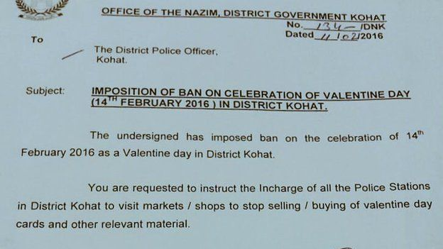 A directive from the Kohat government showing the ban on Valentine's Day celebrations