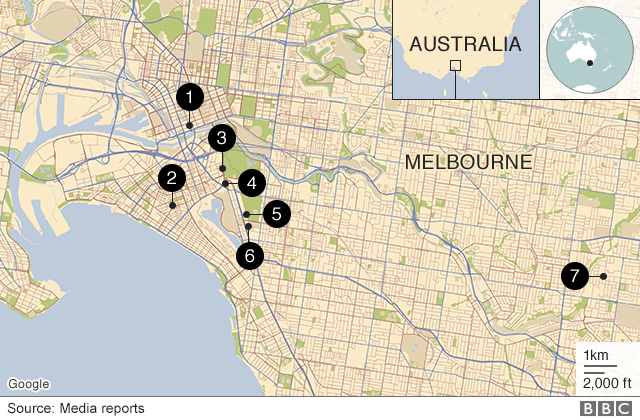 Map showing consulates in Melbourne