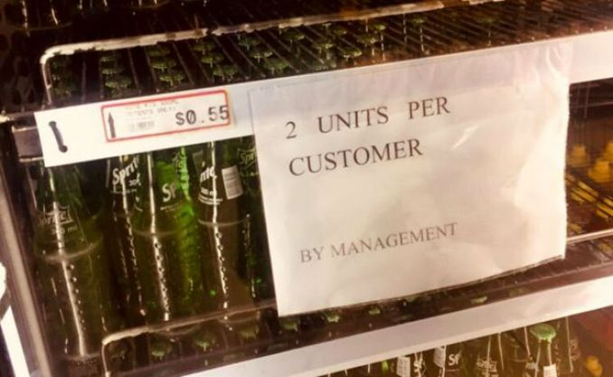"Notice saying ""2 units per customer"
