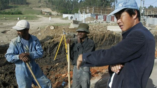 Chinese contruction worker in Addis Ababa, Ethiopia