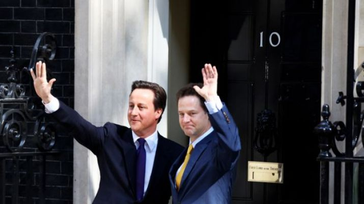 David Cameron and Nick Clegg just after the formation of the Conservative-Liberal coalition in 2010