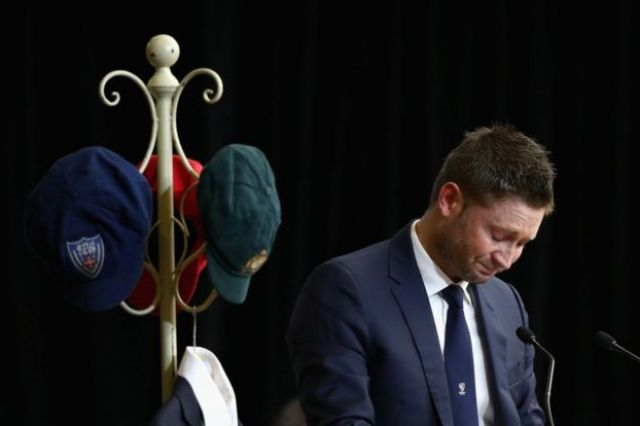 Michael Clarke speaks at deceased cricketer Phillip Hughes' funeral service