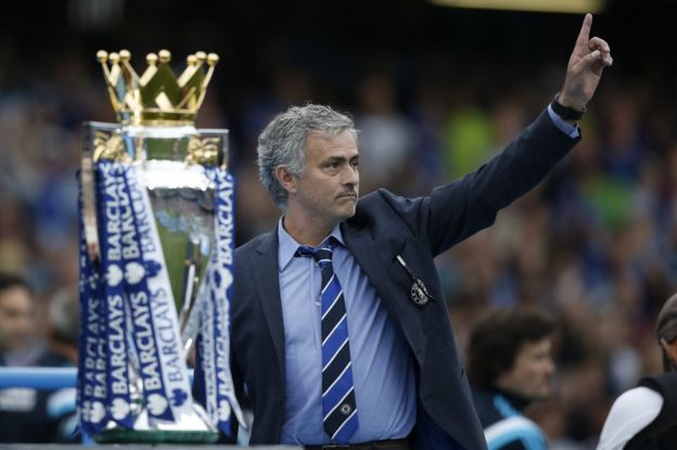 José Mourinho gestures during the presentation of the Premier League trophy in London, 24 May 2015
