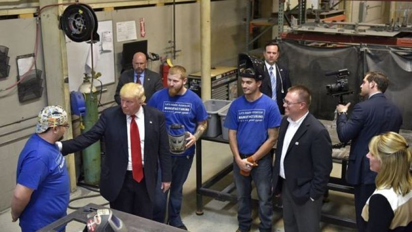 Donald Trump tours Staub Manufacturing Solutions in Dayton, Ohio in September.