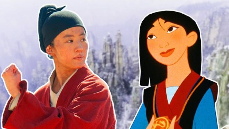 Mulan in live action and as a cartoon