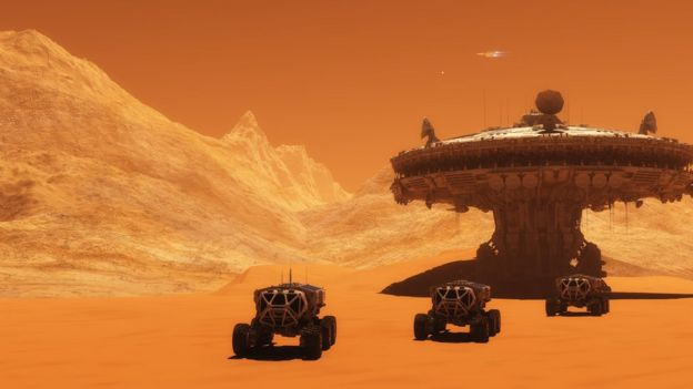 Ilustración de estación en Marte