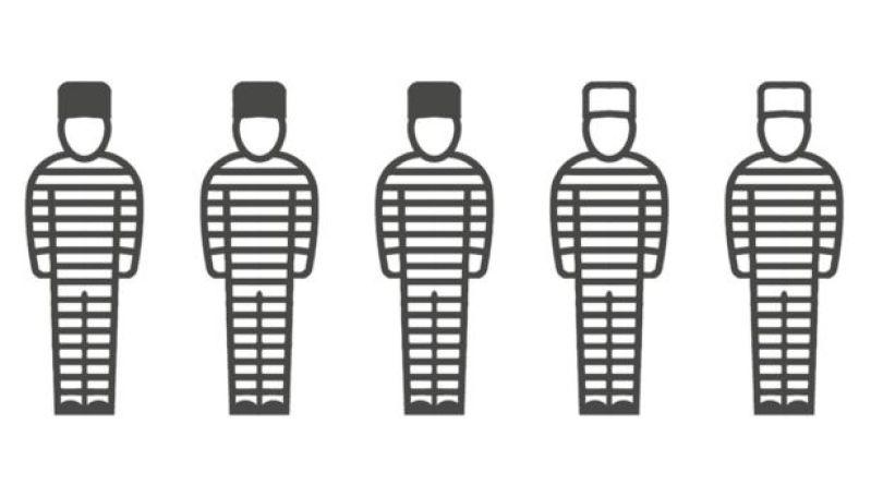 Prisioneiros usando chapéus pretos e brancos