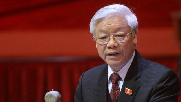 This picture taken on January 21, 2016 shows Nguyen Phu Trong, Vietnam's Communist Party Secretary General, delivering a speech during the opening ceremony of the VCP's 12th National Congress in Hanoi.