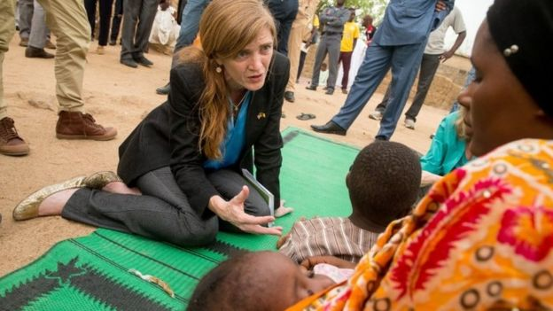 Samantha Power meets with a woman and her children who fled to Mokolo, Cameroon, Monday, April 18, 2016, to escape Boko Haram