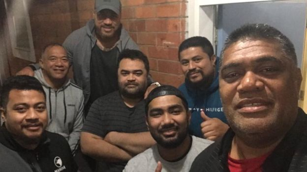 The management team, including coach and World Rugby Hall of Famer Brian Lima (second left), Tuala Pat Leota (centre, arms folded) and Hari Junior Narayan (centre, with cap)
