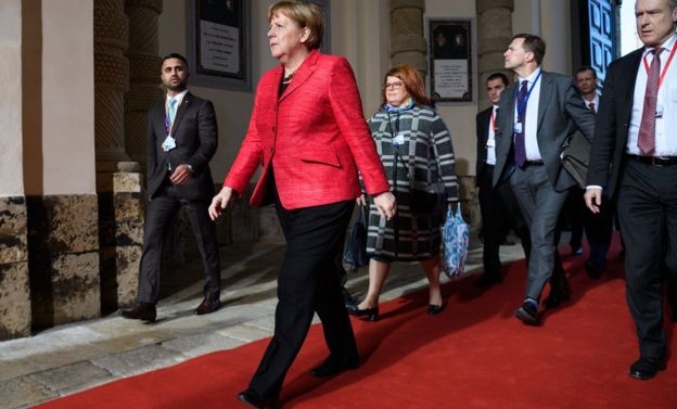 German Chancellor Angela Merkel arrives at the Malta Informal Summit on February 3, 2017 in Valletta, Malta. Theresa May attends an informal summit of the 27 EU leaders to brief them on her recent meeting with President Trump. She has secured a guarantee from Trump that he is 100% supportive of NATO and she will encourage the EU countries to contribute the agreed 2% of their GDP on defence