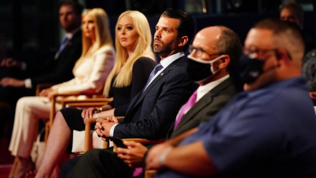 Members of the Trump family Eric Trump, Ivanka Trump, Tiffany Trump and Donald Trump Jr in the audience